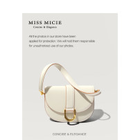 Bag Inclined shoulder bag cowhide Saddle bag Micie / Meixi Black, light apricot yellow, light green brand new Fashion trend Small leisure time soft Cover type no Solid color Single root Straddle shoulder nothing youth Saddle shape chain inside pocket with a zipper MA126608