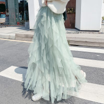 skirt Winter of 2019 S,M,L,XL Green, apricot, gray, black, pink, 808 ᦇ pure white, long t longuette commute High waist Fairy Dress Solid color Gauze