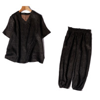 Fashion suit Summer 2021 Chest circumference is about 100cm, chest circumference is about 105cm, chest circumference is about 110cm, pants are one size Black jacket, black trousers 96% and above silk