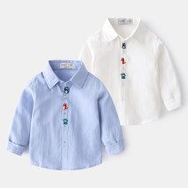 shirt Top one kids male 90cm,100cm,110cm,120cm,130cm spring and autumn Long sleeves leisure time Solid color cotton Lapel and pointed collar Cotton 95% polyester 5% Class B