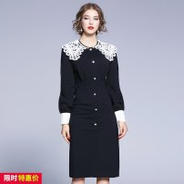 Dress Autumn 2020 black S,M,L,XL,2XL singleton  Long sleeves commute Doll Collar middle-waisted Solid color zipper Pencil skirt bishop sleeve Others Lace