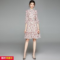 Dress Autumn 2020 Pink S,M,L,XL,2XL Miniskirt singleton  three quarter sleeve Sweet stand collar middle-waisted Decor Socket Ruffle Skirt puff sleeve Others 25-29 years old Type A Lotus leaf edge 51% (inclusive) - 70% (inclusive) Chiffon polyester fiber Lolita