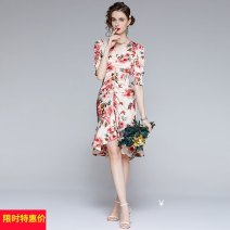Dress Summer 2021 Middle-skirt singleton  Short sleeve Sweet V-neck middle-waisted Decor zipper A-line skirt Wrap sleeves Others 25-29 years old Type A printing 91% (inclusive) - 95% (inclusive) other Cellulose acetate Countryside S,M,L,XL,2XL Graph color