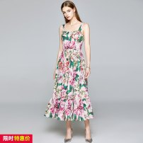 Dress Summer 2020 Green, pink S,M,L,XL,XXL longuette singleton  Sleeveless street One word collar middle-waisted Decor zipper Big swing camisole 25-29 years old Europe and America