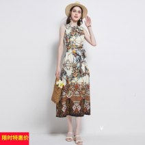 Dress Summer 2021 longuette singleton  Sleeveless street stand collar Loose waist Decor Big swing Type A Bandage other Europe and America M,L,XL,2XL Picture color (with belt)