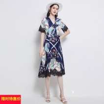 Dress Summer 2021 longuette singleton  Short sleeve street V-neck middle-waisted Decor other Big swing routine Type A Splicing other Europe and America M,L,XL,2XL Picture color (with belt)