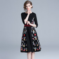 Dress Spring 2020 Graph color S,M,L,XL,2XL Middle-skirt singleton  three quarter sleeve commute V-neck High waist Decor Socket Big swing other Others 25-29 years old Type X Retro nylon
