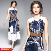 Dress Winter of 2018 Picture color S,M,L,XL,2XL Miniskirt singleton  street Crew neck middle-waisted zipper Type A Europe and America