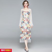Dress Spring 2021 Decor S,M,L,XL,2XL longuette singleton  Long sleeves street square neck High waist Decor zipper One pace skirt routine Others 25-29 years old Type H Embroidery, stitching 31% (inclusive) - 50% (inclusive) Europe and America