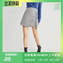 skirt Spring 2021 155/60A/S,160/64A/M,165/68A/L Gray blue Short skirt Retro High waist A-line skirt lattice Type A 25-29 years old 7B1140131 'Seifini / Shi Fanli