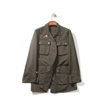 short coat Spring 2020 S, M Army green Long sleeves Medium length routine Straight cylinder Original design routine square neck Single breasted 25-29 years old 96% and above Pocket, stitching, patching cotton cotton