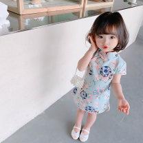 Dress female Other / other 80cm,90cm,100cm,110cm,120cm,130cm Other 100% summer Chinese style Short sleeve Broken flowers other A-line skirt Class B 12 months, 9 months, 18 months, 2 years old, 3 years old, 4 years old, 5 years old, 6 years old, 7 years old Chinese Mainland Zhejiang Province Hangzhou