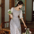 Dress Summer 2021 lilac colour S,M,L Mid length dress singleton  Short sleeve commute square neck High waist lattice Socket A-line skirt pagoda sleeve Others 18-24 years old Type A literature Bows, folds, lacing, stitching, strapping, buttons 71% (inclusive) - 80% (inclusive) brocade cotton