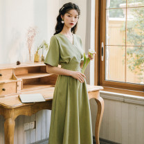Dress Summer 2021 Yellow, green, red S,M,L longuette singleton  Short sleeve commute V-neck High waist Solid color Socket A-line skirt pagoda sleeve Others 18-24 years old Type A literature Bowknot, tuck, fold, bandage 71% (inclusive) - 80% (inclusive) brocade cotton