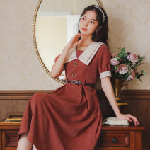 Dress Summer 2021 Gray, violet, caramel S,M,L Mid length dress singleton  Short sleeve commute Double collar High waist Solid color Socket A-line skirt routine Others 18-24 years old Type A literature Button, button 81% (inclusive) - 90% (inclusive) brocade cotton