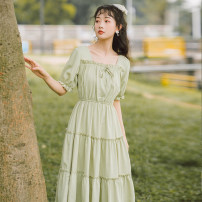 Dress Spring 2021 Apricot white, bean green, light yellow S,M,L Mid length dress singleton  Short sleeve commute square neck Elastic waist Solid color Socket A-line skirt puff sleeve Others 18-24 years old Type A literature Bow, fold, Auricularia auricula, lace, stitching brocade cotton