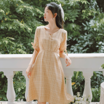 Dress Summer 2020 Light green, apricot yellow S,M,L Mid length dress singleton  Short sleeve commute V-neck High waist lattice Socket A-line skirt routine Others 18-24 years old Type A literature Bows, ties, buttons 71% (inclusive) - 80% (inclusive) brocade cotton