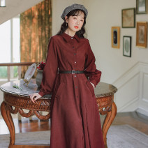 Dress Spring 2021 Red, apricot S,M,L,XL Mid length dress singleton  Long sleeves commute Polo collar High waist Solid color Single breasted A-line skirt routine Others 18-24 years old Type A literature 81% (inclusive) - 90% (inclusive) brocade cotton
