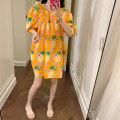 Dress Summer 2020 Orange (spot), orange ~ pre sale as soon as possible~ Average size Middle-skirt singleton  Short sleeve commute Crew neck High waist Decor Socket puff sleeve Others 25-29 years old Type H Zhang Jingzhi Korean version 81% (inclusive) - 90% (inclusive)