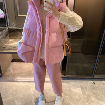 Cotton padded clothes Cherry Blossom powder * * in stock, cherry blossom powder - pre-sale as soon as possible Average size Winter of 2019 Other / other routine Sleeveless thickening commute stand collar Bat sleeve Straight cylinder Korean version