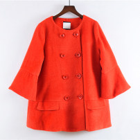 woolen coat Winter of 2018 L Carmine wool 51% (inclusive) - 70% (inclusive) Medium length three quarter sleeve commute double-breasted pagoda sleeve Crew neck Solid color Korean version R435 25-29 years old