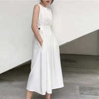 Dress Summer 2021 White, black S,M,L,XL Mid length dress singleton  Sleeveless commute Crew neck High waist Solid color Socket A-line skirt routine Others 18-24 years old Type A Other / other Korean version pocket
