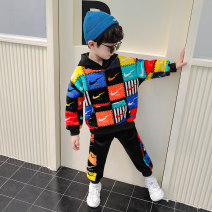 Leisure sports suit winter 90cm,100cm,110cm,120cm,130cm,140cm,150cm Orange, pink Long sleeves Other / other trousers teenagers Sweater cotton 2020