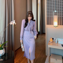 Women's large Winter 2020, autumn 2020 violet Large L, large XL, s (suitable for 100-120 kg), m, 2XL, 3XL, 4XL Dress Fake two pieces Sweet Self cultivation moderate Socket Long sleeves Solid color V-neck Medium length Polyester, cotton Three dimensional cutting routine HO1655A MB1 25-29 years old
