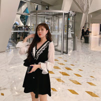 Women's large Winter of 2019 black Large L, large XL, m, 2XL, 3XL, 4XL Dress singleton  commute Self cultivation moderate Socket Long sleeves Solid color Korean version V-neck Medium length polyester Three dimensional cutting Lotus leaf sleeve 25-29 years old Lace stitching Medium length Ruffle Skirt