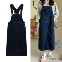 Dress Autumn 2020 navy blue S,M,L,XL,2XL,3XL,4XL,5XL longuette singleton  Sleeveless commute Loose waist Solid color Socket Big swing other straps 18-24 years old Type H Korean version Embroidery Denim
