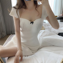 Dress Summer 2021 White, black S, M Short skirt singleton  Short sleeve Sweet square neck High waist A-line skirt routine Others 18-24 years old Type A Vougeek 91% (inclusive) - 95% (inclusive) cotton Ruili