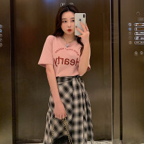 T-shirt Pink T-shirt, blue T-shirt, black and white plaid skirt, Navy skirt S,M,L,XL Summer 2021 Crew neck Self cultivation Regular routine commute cotton 96% and above 18-24 years old other letter Vougeek printing