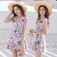 one piece  Other brands Skirt one piece With chest pad without steel support Spandex, polyester female Sleeveless Casual swimsuit Scenery, others backless