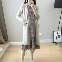 Dress Elaine Single apricot cardigan blue skirt + apricot cardigan single blue skirt M L XL XXL one size fits all Korean version Long sleeves Medium length autumn stand collar lattice Chiffon 714-2