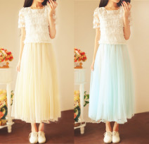 Dress Summer 2016 White top + white vest skirt, white top + sky blue vest skirt, white top + apricot vest skirt, single vest skirt [what color message] S,M,L,XL longuette Two piece set Short sleeve Sweet Crew neck middle-waisted Solid color other Pleated skirt Princess sleeve Others 18-24 years old