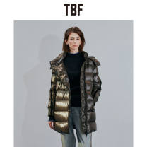 Down Jackets Winter of 2019 TBF coffee 2/S,3/M,4/L,5/XL,6/XXL White duck down 90% Medium length Long sleeves thickening zipper stand collar commute Wrap sleeves Straight cylinder Solid color 150g (including) - 200g (excluding) Korean version 25-29 years old 96% and above