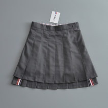 skirt Spring of 2019 XS,S,M,L,XL White Long - [bottoms], black long - [bottoms], medium gray long - [bottoms], white short - [bottoms], black short - [bottoms], medium gray short - [bottoms] Short skirt Versatile High waist Pleated skirt Solid color Type A 18-24 years old km-1810 brocade AC FOR AG