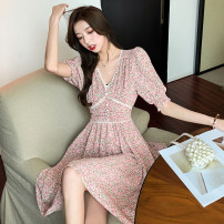 Dress Summer 2021 Yellow, pink S,M,L Short skirt singleton  Short sleeve commute V-neck High waist Decor zipper A-line skirt routine Others 18-24 years old Type A Korean version Splicing 51% (inclusive) - 70% (inclusive) other