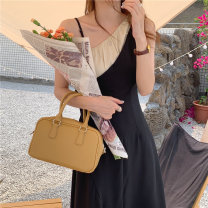 Dress Summer 2021 black S, M longuette singleton  Sleeveless commute One word collar Loose waist Solid color other other camisole Korean version Splicing