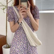 Dress Summer 2021 Purple, green Average size Mid length dress singleton  Short sleeve Decor Other / other