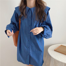 Dress Spring 2021 Dark blue, light blue Average size Middle-skirt singleton  Long sleeves commute other Loose waist Solid color Single breasted other routine Others Type H Korean version Pleating 71% (inclusive) - 80% (inclusive) other other