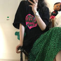 T-shirt White T-shirt, black T-shirt, green leopard skirt s, green leopard Skirt M Average size Summer 2021 Short sleeve Crew neck easy Medium length routine commute cotton 96% and above Korean version youth letter 2797# printing