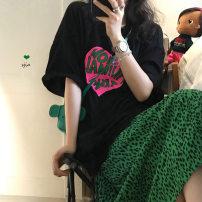 T-shirt White T-shirt, black T-shirt, green leopard skirt s, green leopard Skirt M Average size Summer 2021 Short sleeve Crew neck easy Medium length routine commute cotton 96% and above Korean version youth letter 2797# printing