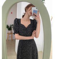 Dress Summer 2021 Picture color S,M,L,XL Mid length dress singleton  Short sleeve commute V-neck High waist Broken flowers Socket puff sleeve Korean version