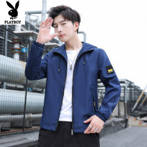 Jacket Other / other Youth fashion Blue, black, army green M,L,XL,2XL,3XL,4XL routine standard Other leisure spring Long sleeves Wear out Hood tide teenagers routine Zipper placket 2021 Rubber band hem No iron treatment Closing sleeve Solid color Decorative loop Thread embedding and bag digging