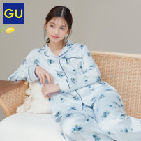 Pajamas / housewear set female Gu 155/80A/S 160/84A/M 160/88A/L 165/92A/XL 01 cream 60 light blue 69 Navy Polyester (polyester) GU331959000 Polyester 100% Spring 2021 Same model in shopping mall (sold online and offline) Polyester 100%