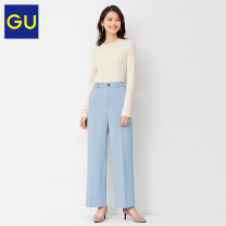 Casual pants 60 light blue 155/62A/S 160/66A/M 160/70A/L 165/78A/XL Spring 2021 trousers Straight pants Natural waist GU330636200 Gu Polyester 95% polyurethane elastic fiber (spandex) 5% Same model in shopping mall (sold online and offline)