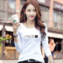T-shirt white S M L XL 2XL 3XL Autumn of 2018 Long sleeves Crew neck Self cultivation Regular routine commute cotton 86% (inclusive) -95% (inclusive) 18-24 years old Korean version originality Letter thin horizontal stripe vertical stripe Cy161 long sleeve crew neck come on printing
