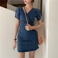 Dress Summer 2020 Graph color S, M Short skirt singleton  Short sleeve commute V-neck High waist Socket 18-24 years old Type A Other / other Korean version 16019#