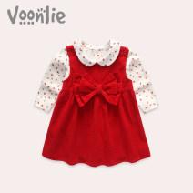Dress Red skirt + base coat female Voonlie / fanlie 66, 73, 80, 90, 100, 110, 120 Cotton 100% winter princess Skirt / vest Solid color cotton A-line skirt FL0805 Class A Spring of 2019 12 months, 6 months, 9 months, 18 months, 2 years, 3 years